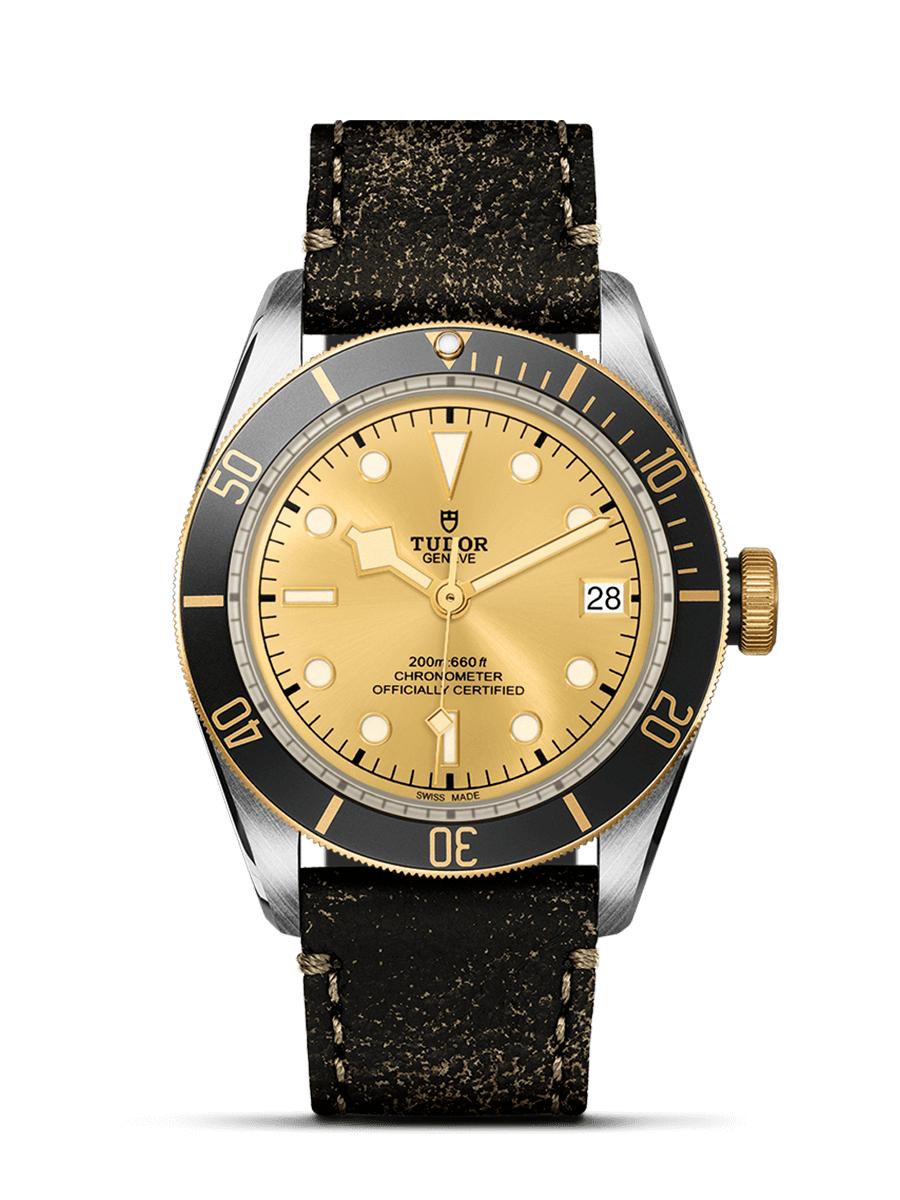 Tudor Heritage Black Bay Steel & Gold 41mm Luxus Automatikuhr Chronometer - in 2 Ausführungen: Champagner am Leder - Schwarz am Textil