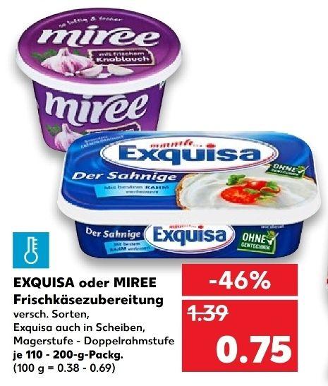 [Kaufland Mo-Mi] 3x Exquisa Fitline Frischkäse (auch Köringer Frischkäse) versch. Sorten mit Coupon für 1,25€ (Stückpreis = ca. 0,41€)