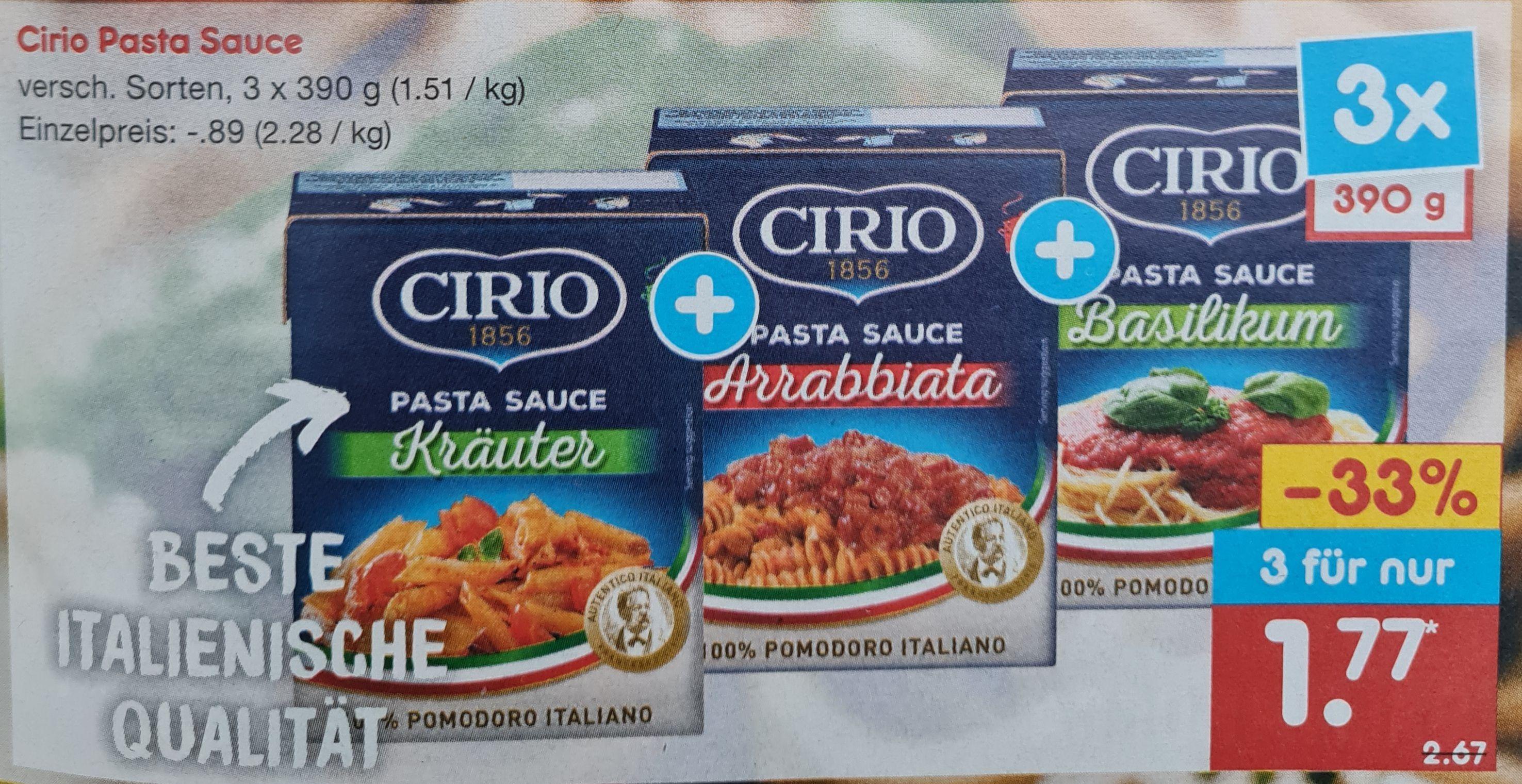 3x390 g Cirio Pasta Sauce Einzelstück 89 Cent verschiedene Sorten Netto MD ab 31.05