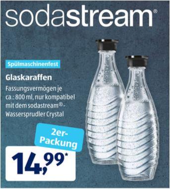 2er-Set Sodastream Glaskaraffen, ca. 800 ml für 14,99 Euro / Sodastream Wassersprudler Crystal 2.0 mit Zubehör für 89,99 Euro [Aldi Süd]