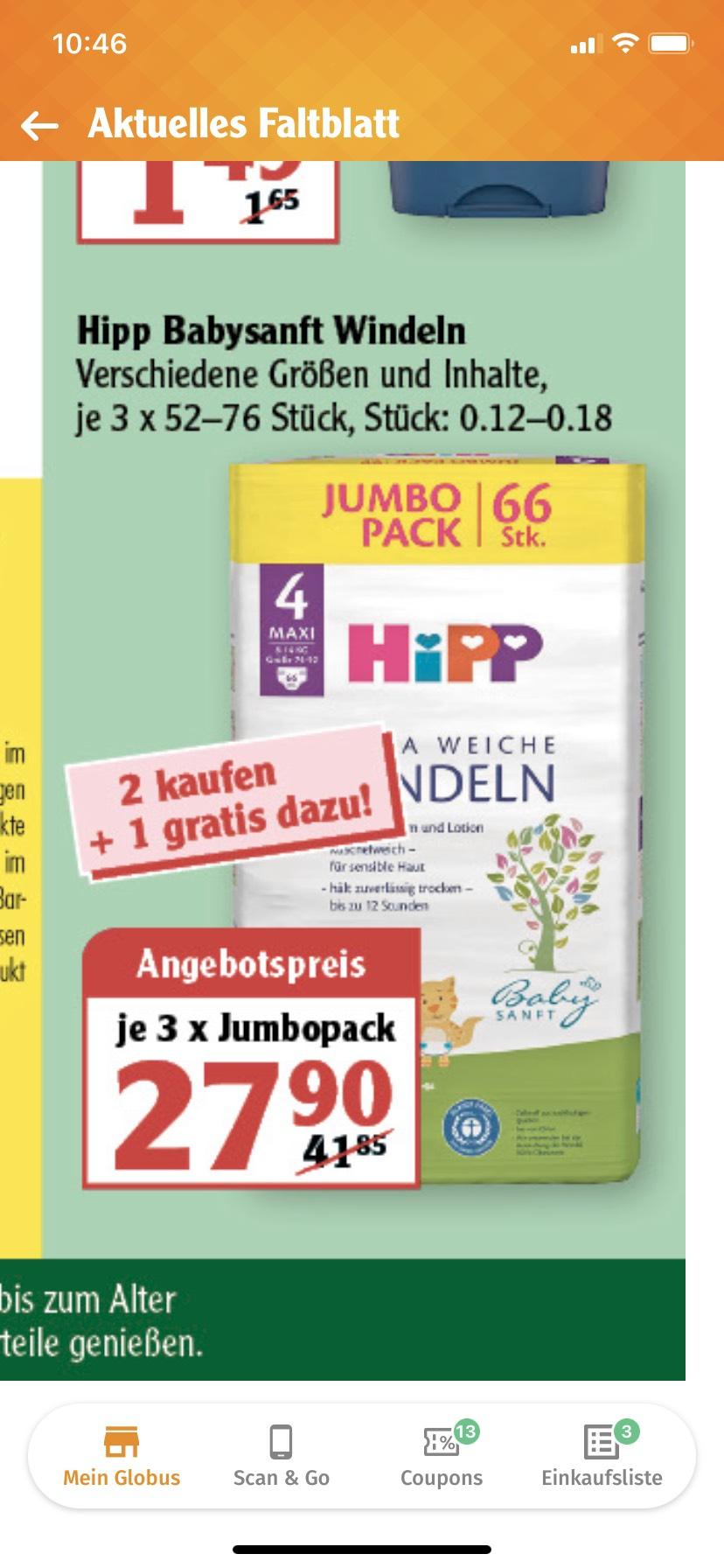 [GLOBUS] Hipp Babysanft Windeln *JUMBO PACK* = 2 kaufen + 1 gratis dazu