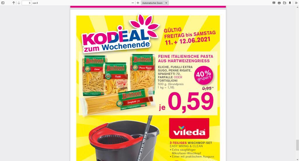 Kodi am 11+12.06 Buitoni Pasta 500g für 0,59 € Offline