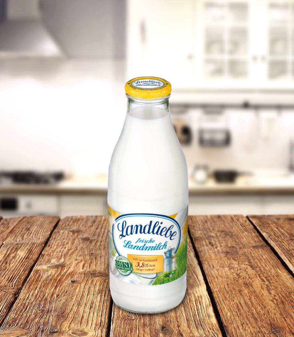 Aldi Nord: 1 Liter Landliebe Milch, 3,8% Fett in der Glasflasche, ab Freitag 11.06.21