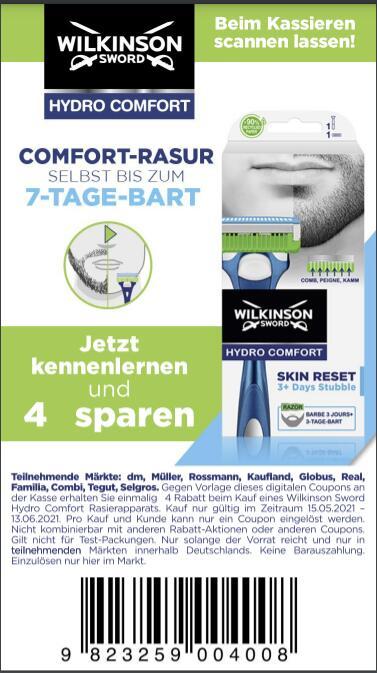 Wilkinson Sword Hydro Comfort 4€ Sofort-Rabatt