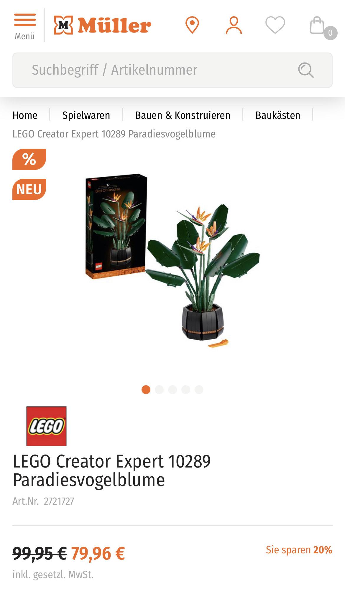 [Müller] LEGO Creator Expert 10289 Paradiesvogelblume mit knapp 20% Rabatt Evtl. mehr