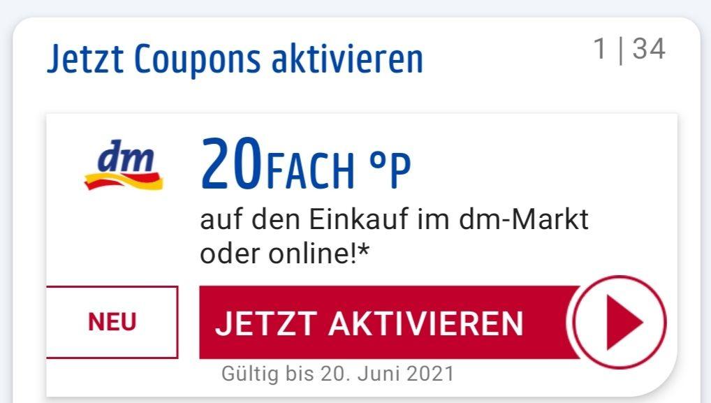 20-Fach °P auf den gesamten Einkauf dm-Markt oder Online bis 20.06 evtl personalisiert