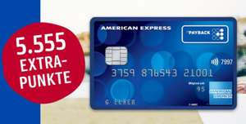 Kostenlose PAYBACK American Express Kreditkarte + 5.555 Payback Punkte (55,55€)