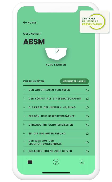 7Mind Premium Kostenlos nach erfolgreichen Abschluss des Krankenkassen Kurs ABSM