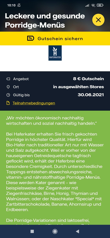 [Vattenfall my highlights] Haferkater 8€ mit 8€ MBW Gutschein in der App