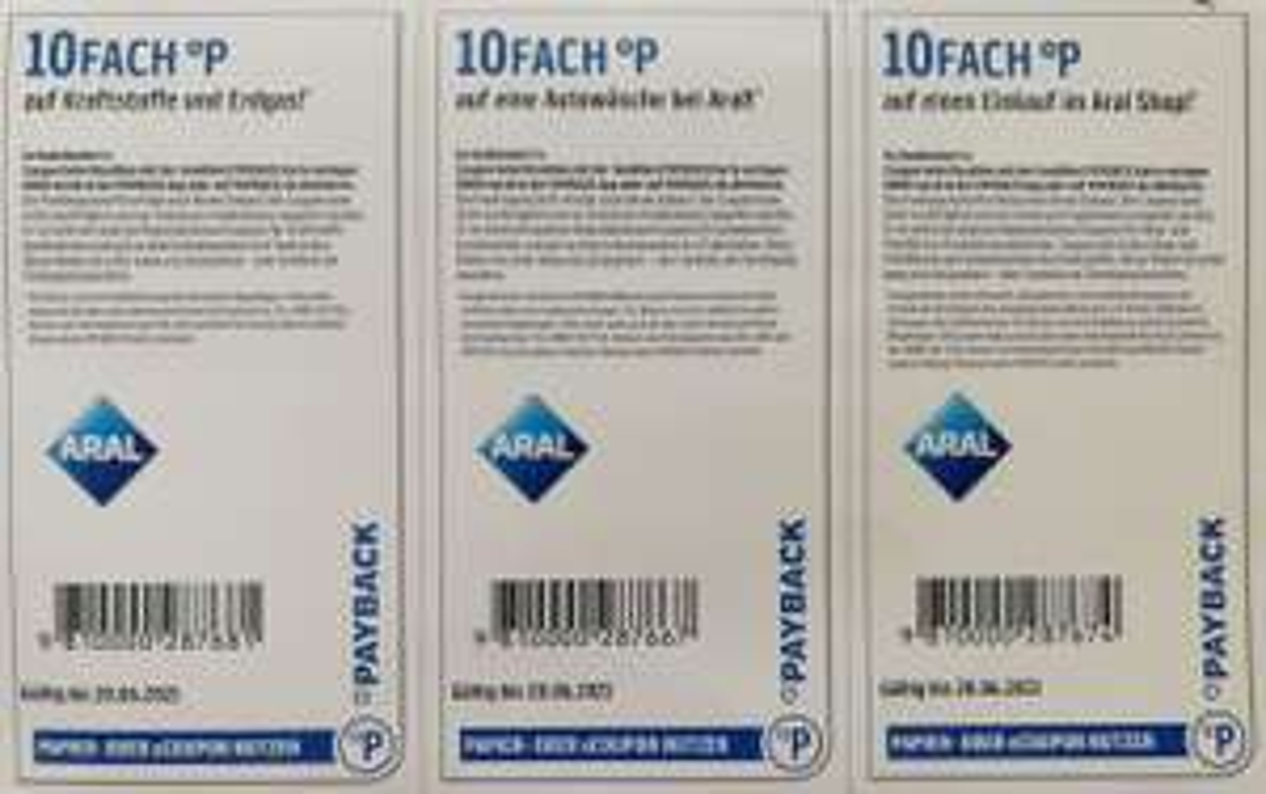 [Payback Aral] 10fach auf Kraftstoff, Autowäsche & Aral-Shop (personalisiert!)