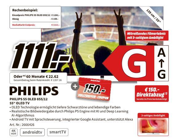 "[TV kaufen, Coupon dazu] PHILIPS 55OLED855/12 55"" OLED TV + 150€ für 1.101€ | SONY KE-65A8 65"" +250€ für 1.767€ | KD-85XH9096 +500€ - 2.399€"