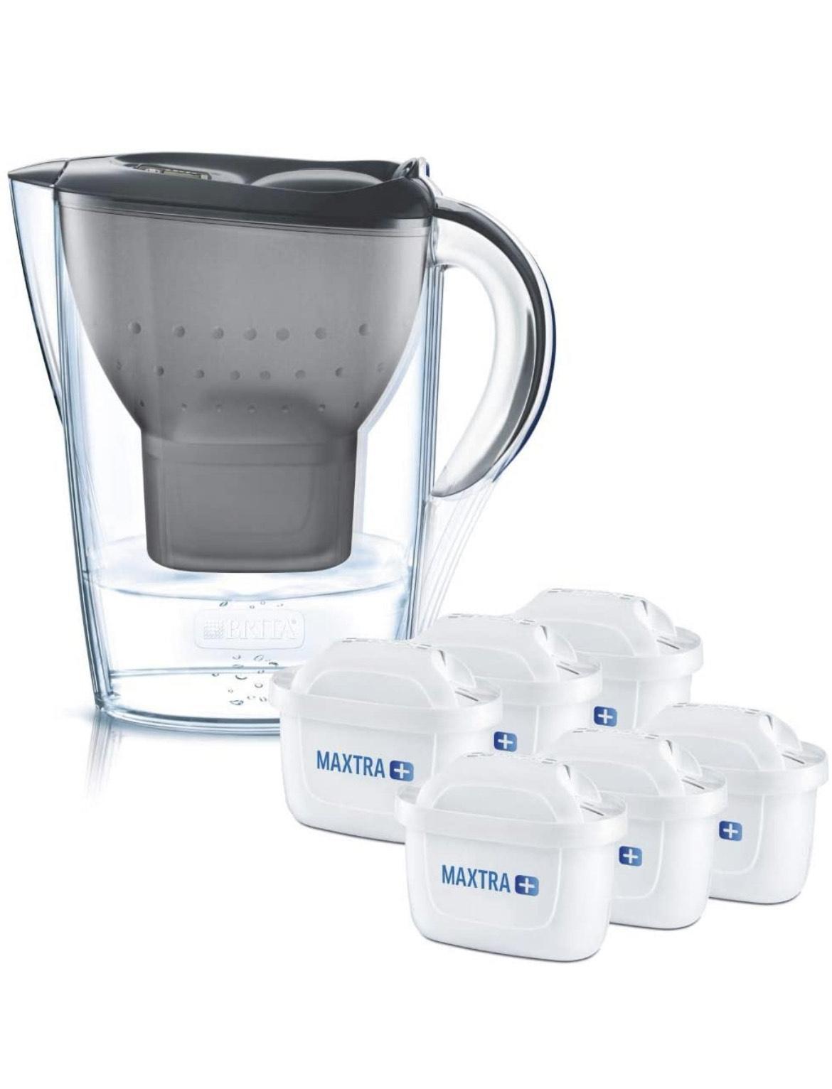 BRITA Wasserfilter Marella graphit inkl. 6 MAXTRA+ Filterkartuschen – BRITA Filter Starterpaket