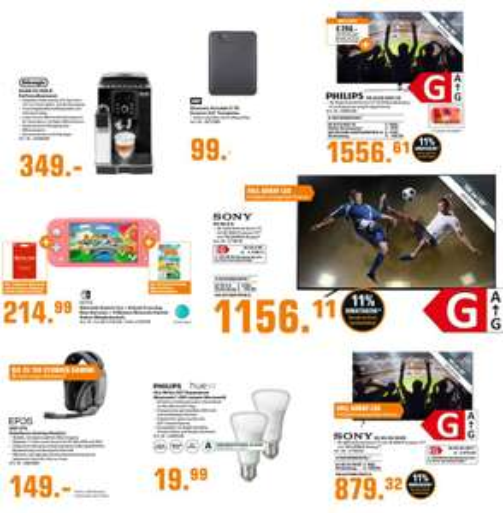 "Delonghi ECAM 23.266.B Kaffeevollautomat für 339€ | SONY KE-65XH9005 - 65"" 4K UHD Smart TV für 869,32€ | PHILIPS 65OLED855/12 für 1546,61€"