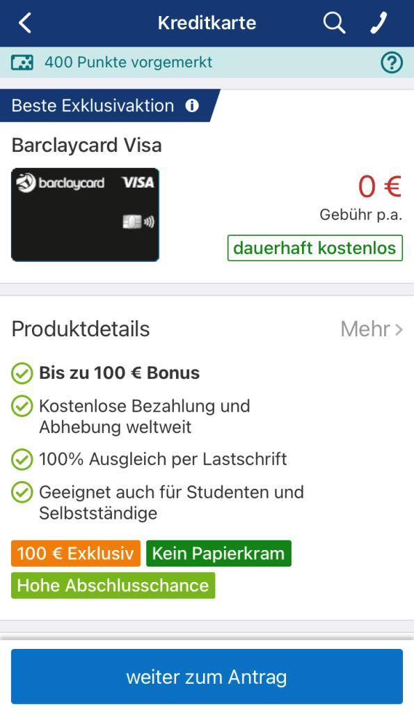Barclaycard Visa | 100 EUR Startguthaben (ab 500 EUR Umsatz)