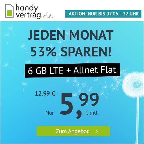 6GB LTE Handyvertrag.de Tarif für mtl. 5,99€ mit Allnet- & SMS-Flat, VoLTE, WLAN Call im Telefonica-Netz (mtl. kündbar)