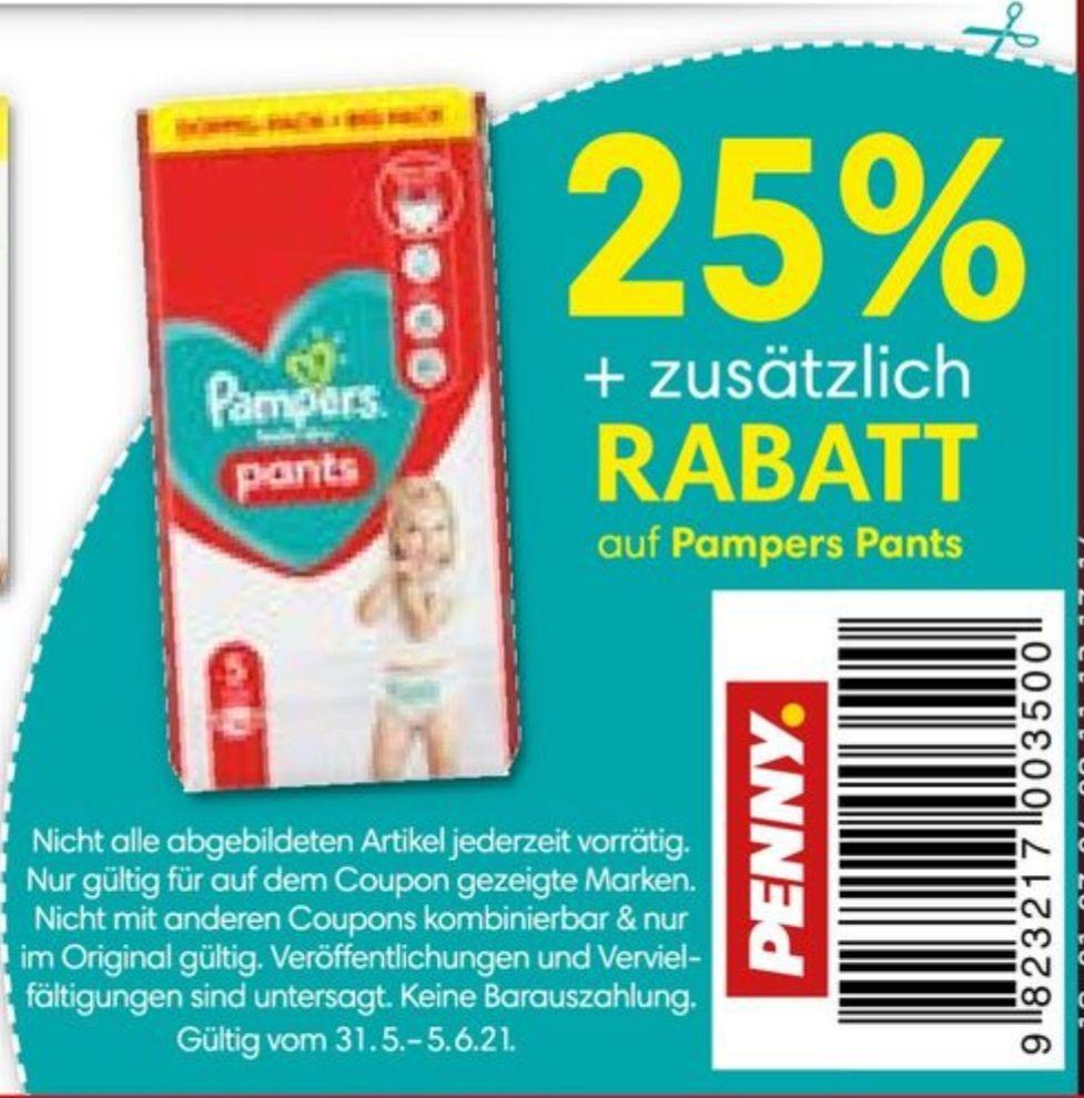 25% + zusätzlichen Rabatt auf PAMPERS PANTS im Penny ab 31.05 - 05.06