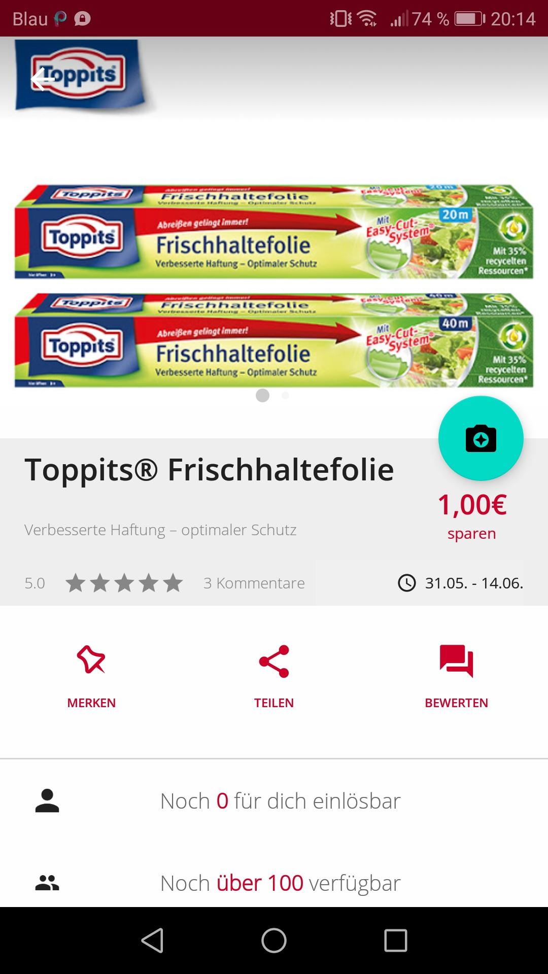 [Scondoo] [Kochbar] Toppits Frischhaltefolie für 0,45€ - ggf. Freebie mit Gewinn mögl. - Dank je 1€ Cashback bei Scondoo+Kochbar