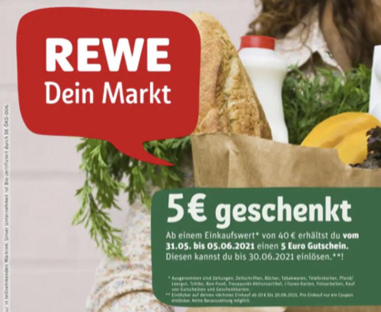 [REWE] [Lokal] 5€ Gutschein geschenkt ab einem Einkauf von 40€ (u.a. Löningen, Meppen, Garrel, Werlte, Großenkneten)