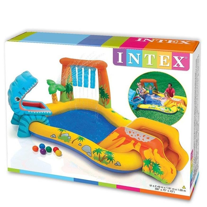 INTEX Dinosaurier Spielparadies 249cm × 191cm × 109cm Planschbecken-Pool mit Palmendusche, Rutsche, Wasserfall & 6 Spielbällen