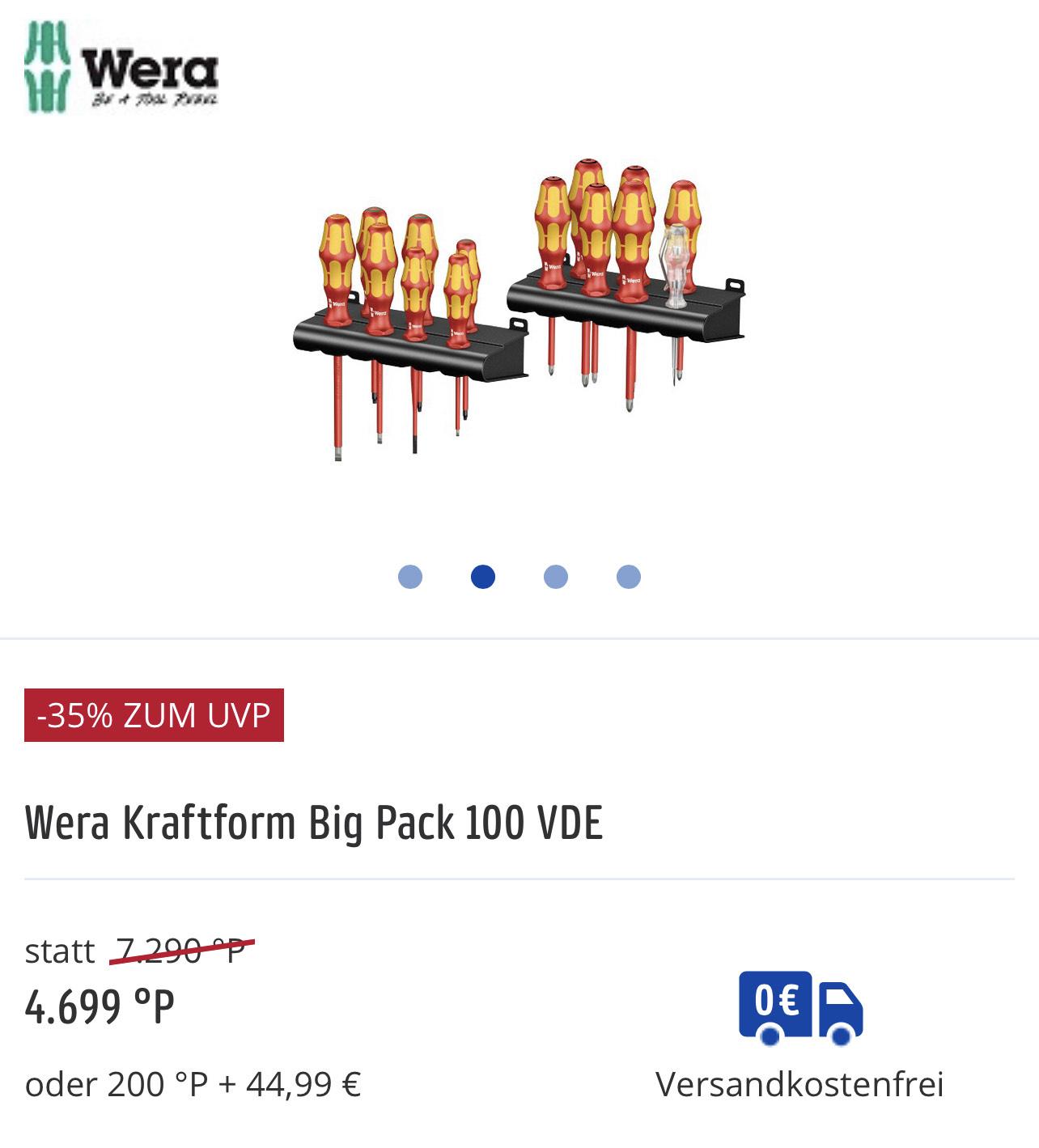 Payback Prämienshop , Wera Kraftform Big Pack 100 VDE