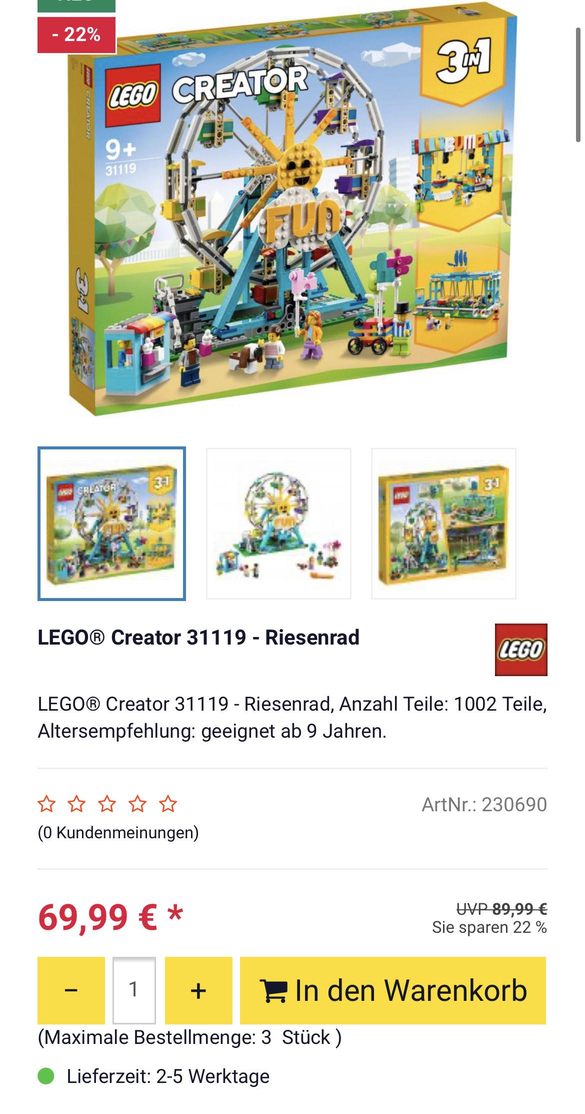[ROFU] LEGO® Creator 31119 - Riesenrad für 69,99 €
