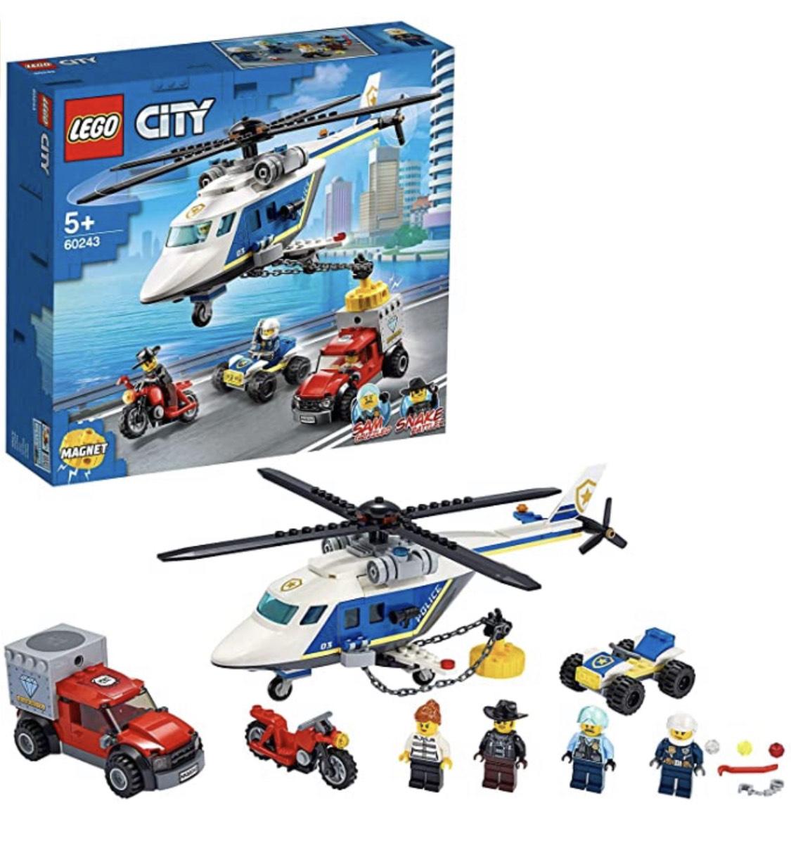 LEGO City - Verfolgungsjagd mit dem Polizeihubschrauber (60243) wieder günstig, gratis Versand mit Prime!