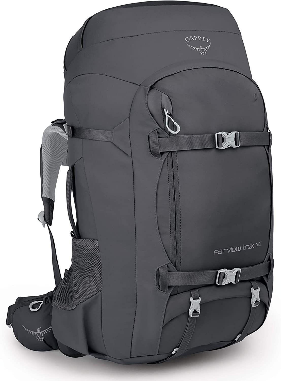 Osprey Fairview Trek 70 - Wander-Rucksack (70 Liter, integrierte Reisehülle, Kompressionsflügel, Sicherheitsfach) Charcoal Grey