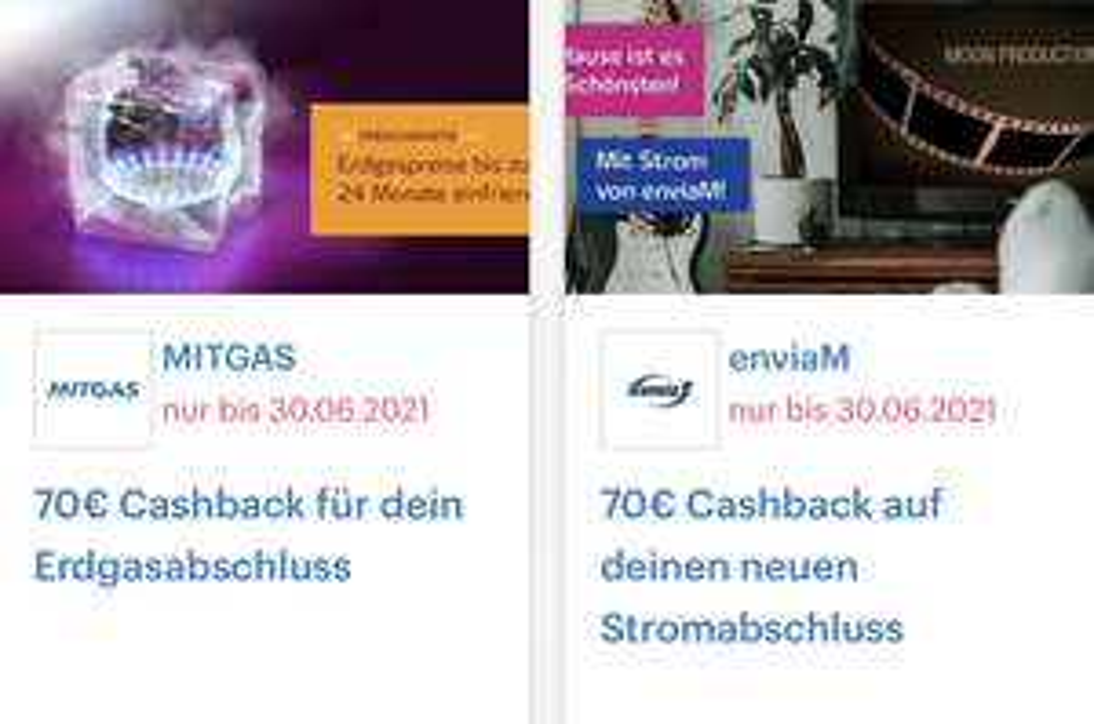 ( enviaM / MITGAS & Shoop ) 70€ Cashback für Strom bzw. Erdgas Abschluss