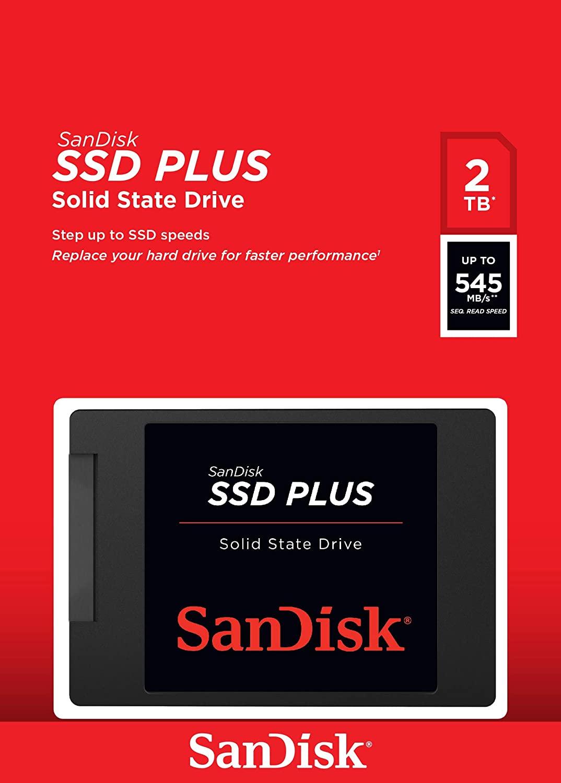 """SanDisk SSD Plus 2TB (2.5"""", SATA, TLC oder QLC, 545/450 MB/s, 512MB Cache, 3J Garantie)"""