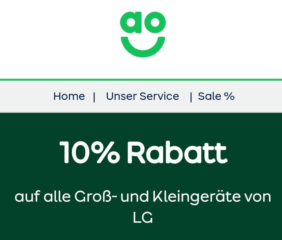ao 10% auf alle LG Gross und Kleingeräte UND 20€ Rabatt ab 299€ für alle Grossgeräte mit Code: XXF4YP3GID