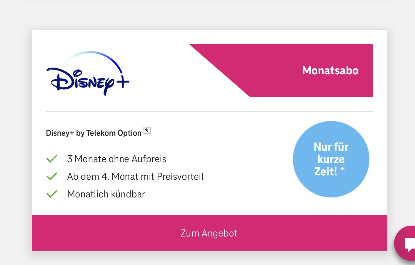 [Telekom Magenta Mobil Kunden] Disney+ kostenlos für 3 Monate, danach Umstieg auf 12 Monats Abo für 60 Euro möglich