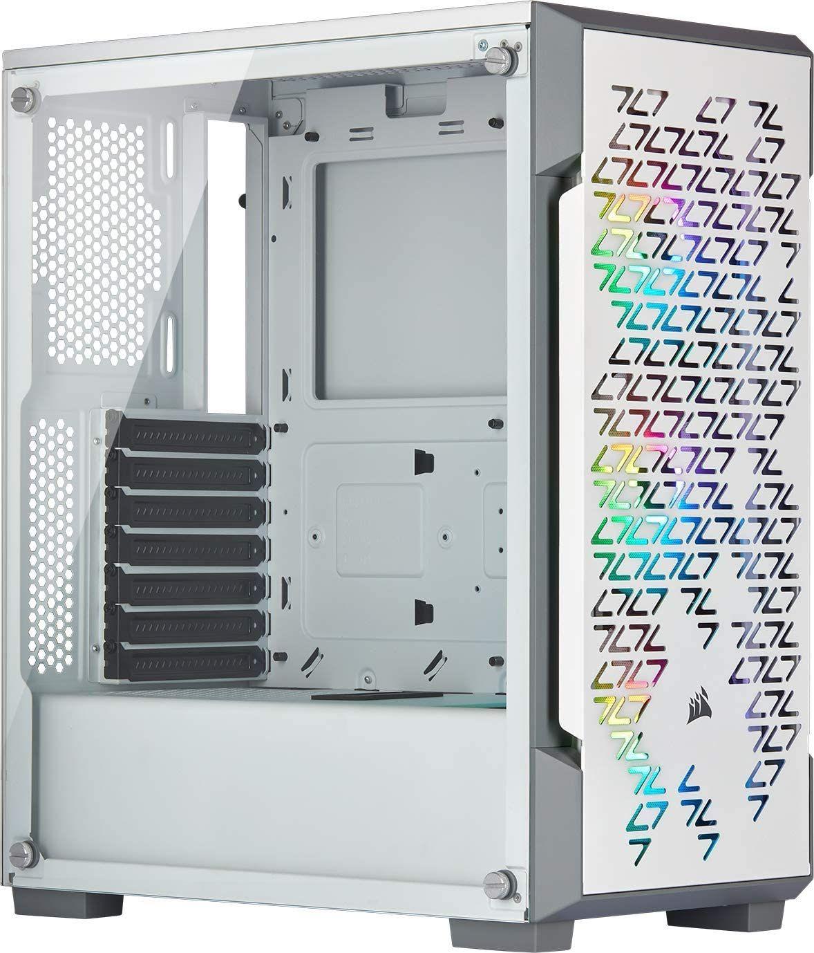 Corsair iCUE 220T RGB Airflow PC-Gehäuse (Midi Tower, inkl. 3x Corsair SP120 RGB Pro Lüfter, Glasfenster) Weiß