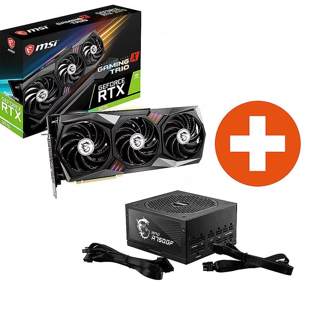 MSI GeForce RTX 3070 Gaming X Trio Grafikkarte + 750 Watt 80+Gold Netzteil