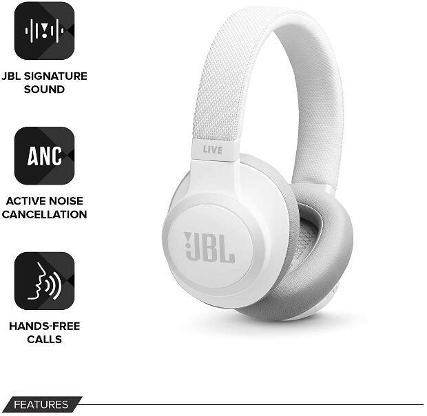 JBL Live 650BTNC - Over-Ear Bluetooth-Kopfhörer, Active Noise Cancelling, 30 Std. Akkulaufzeit für 68,59€ (Amazon.es)