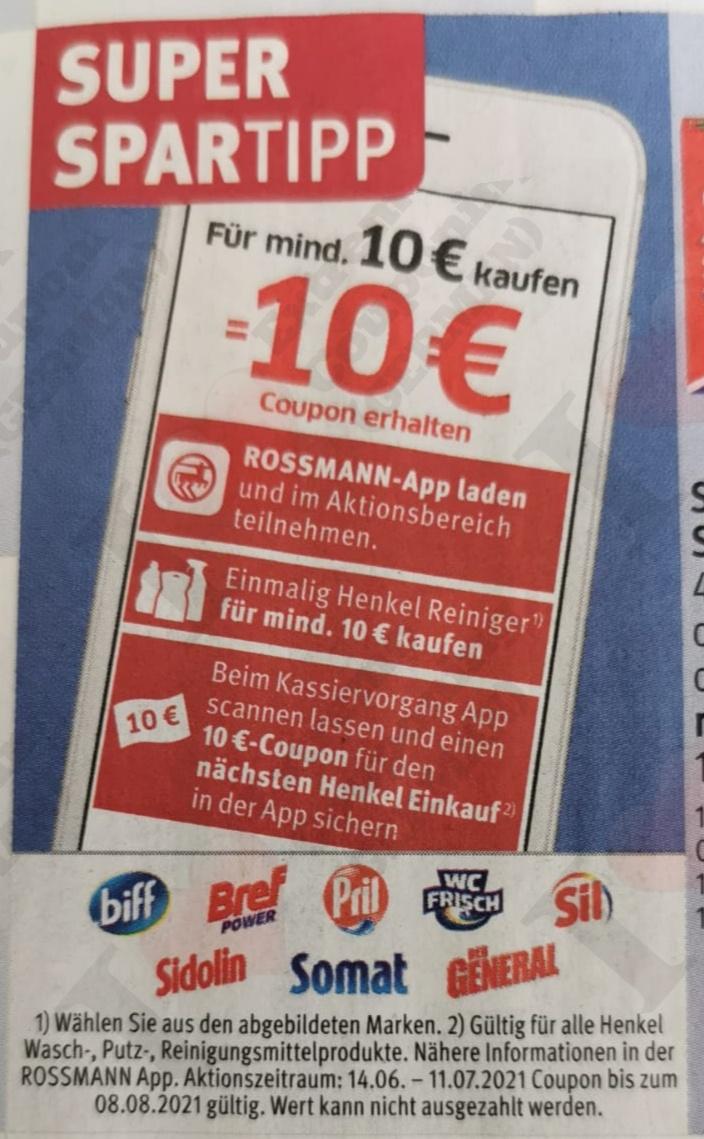 (Rossmann App) Henkel Wasch/Putz oder Reinigungsmittel für 10€ kaufen und 10€ Coupon für den nächsten Henkel Einkauf in der App sichern