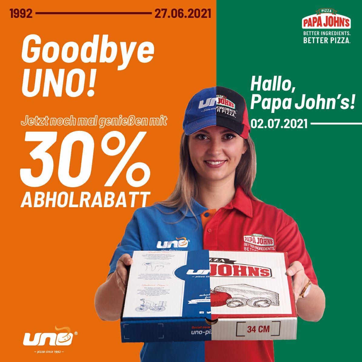 Uno Pizza wird zu Papa John's und gibt euch 30% Rabatt l