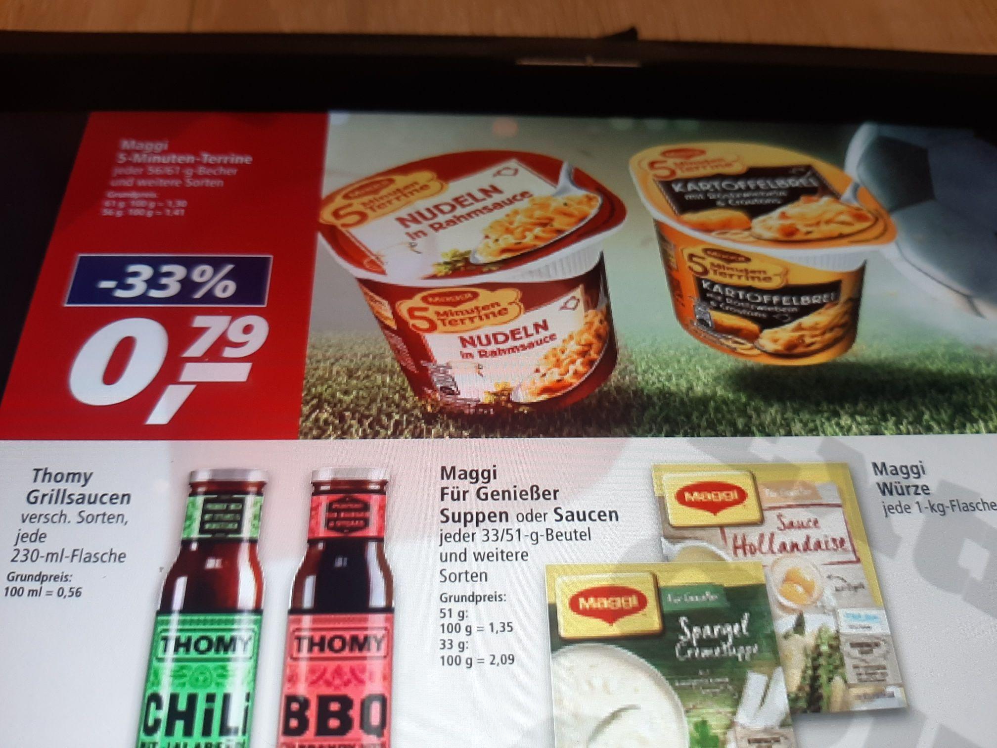 Maggi 5 Minuten Terrine 5Packungen Dank Coupon für 2.95€uro Suppen,Nudeln Diverse weitere Sorten.