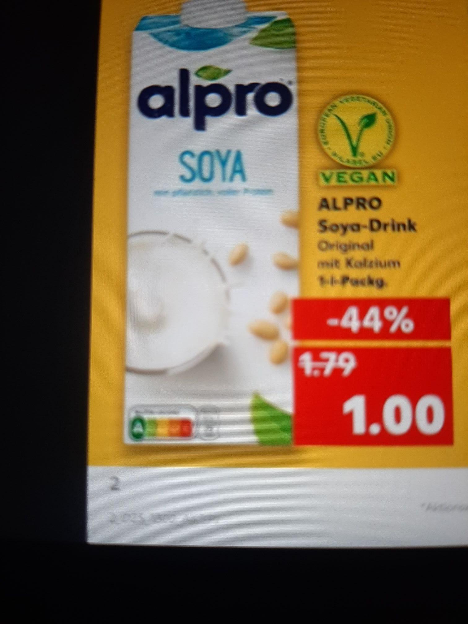 KOMPLETT KOSTENLOS: Alpro Soya Drink Vegan Pflanzliches Getränk 1Liter für null €uro.