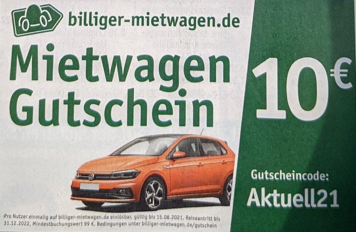 billiger-mietwagen 10€ Rabatt ab 99€ Buchungswert