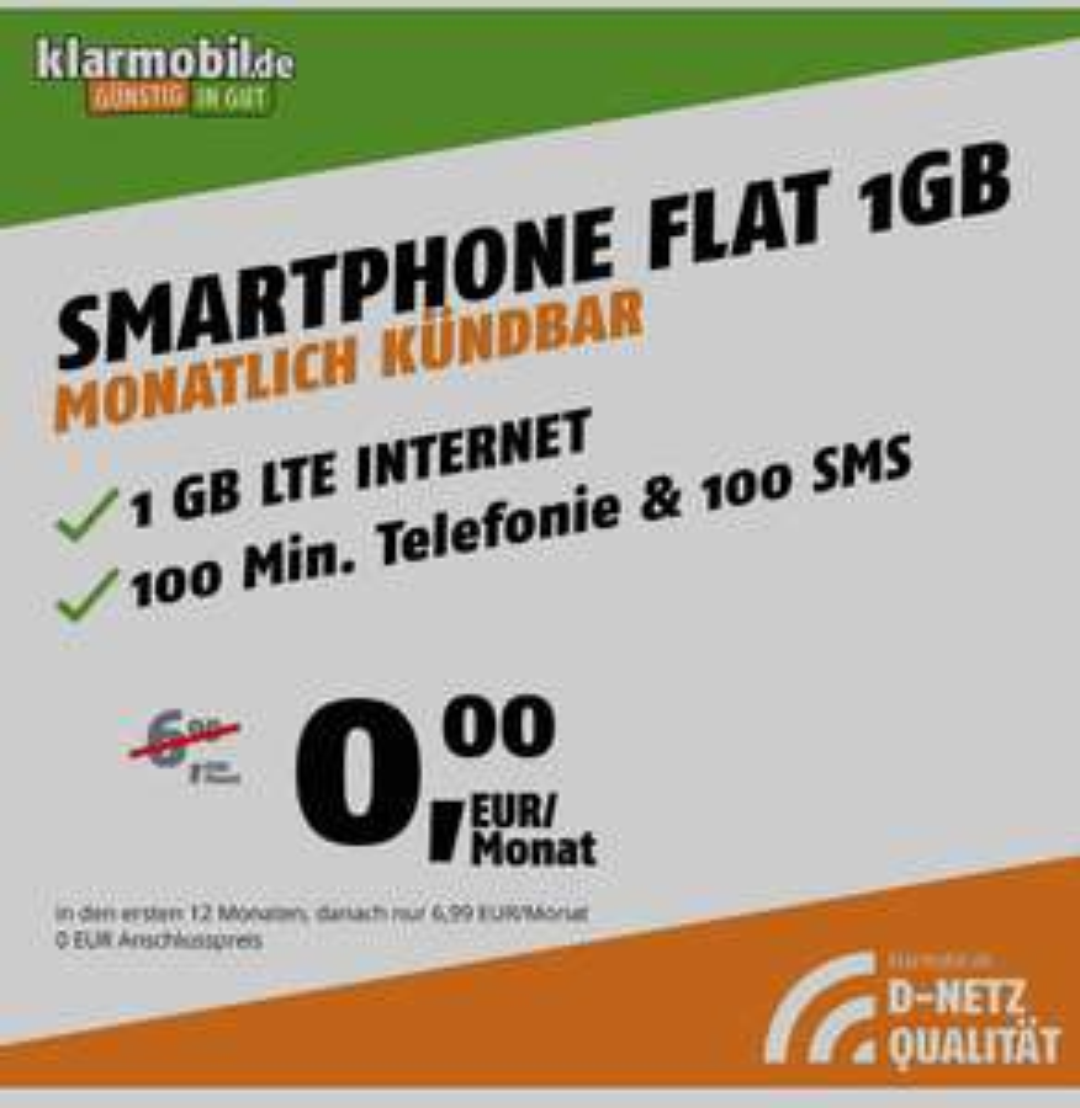 Klarmobil Smartphone Flat 1GB für insgesamt 3,63€ für 12 Monate (D-Netz, Telekom), monatlich kündbar