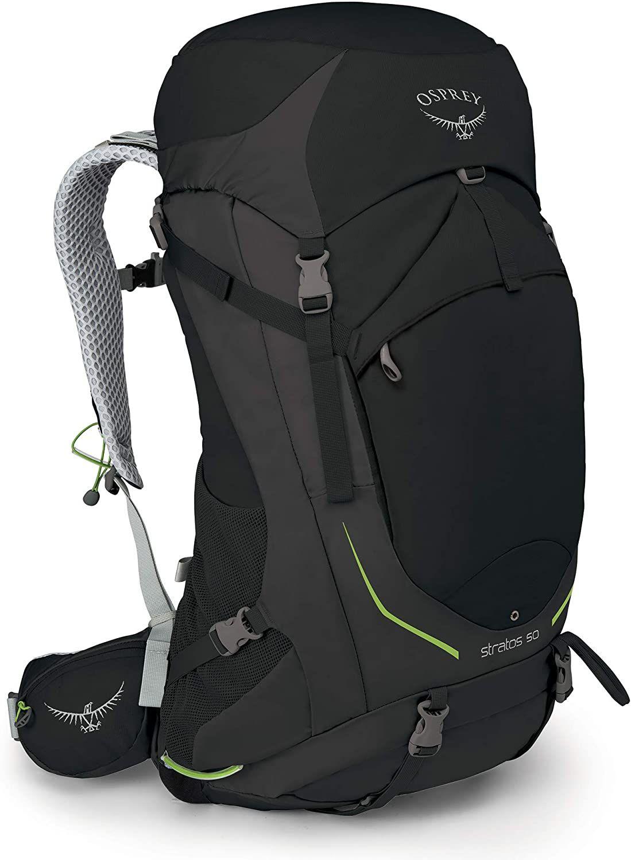 Osprey Stratos 50 belüfteter Trekkingrucksack 47 l (verstellbare Rückenplatte, integr. Regenhülle, Trinkblasenfach, Brustgurt) Black S/M
