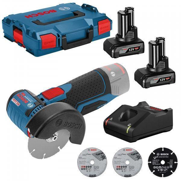 Bosch Professional Akku-Winkelschleifer GWS 12V-76 V-EC (bürstenlos) 12 V / 2x 4,0 Ah Akku + Ladegerät inkl. Zubehör in L-Boxx