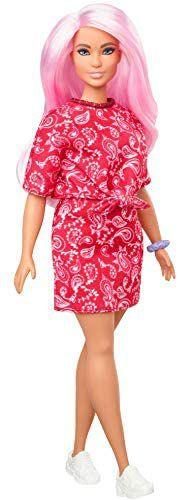 Barbie Fashionistas Puppe 151 (pinkhaarig) mit Bandanakleid im rotem Paisley-Muster und eine weitere [Amazon Prime]