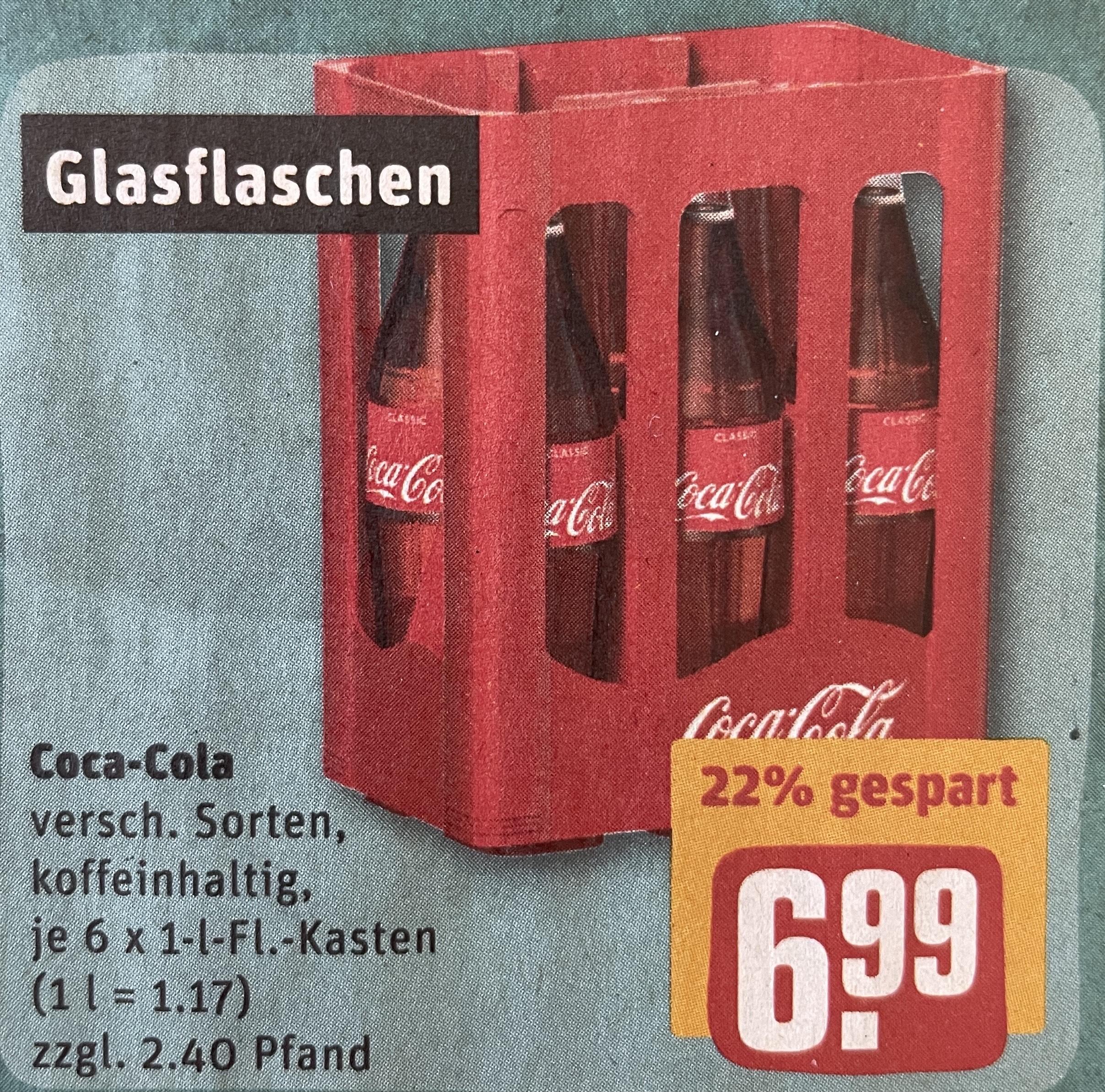 [ab 07.06. lokal REWE - evtl. bundesweit] 6x 1 l Glasflaschen Coca-Cola Kasten