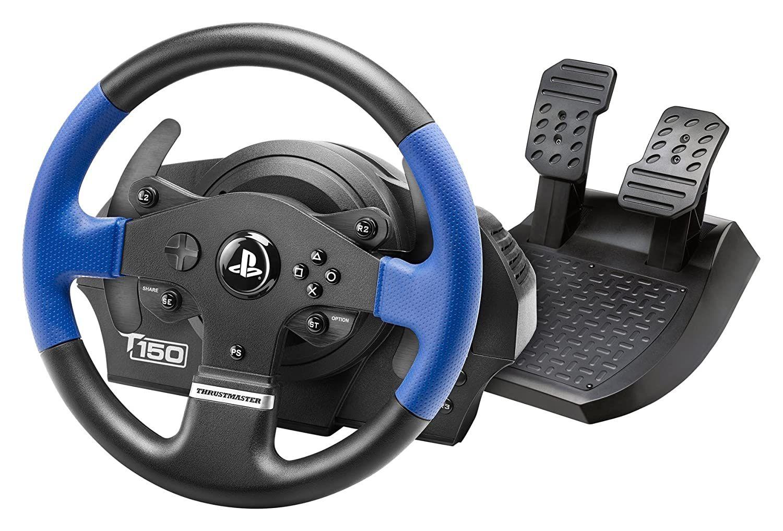 THRUSTMASTER T150 RS (inkl. 2-Pedalset, PS4 / PS3 / PC) Kompatibel mit PS5-Spielen, Lenkrad, Schwarz/Blau (Newsletter)