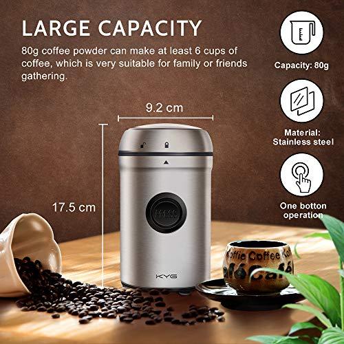 KYG Kaffeemühle 200W Elektrische Propellermühlen 25000 U/min Leistungsstarker Motor 80g Kapazität mit Edelstahlklingen (Prime)