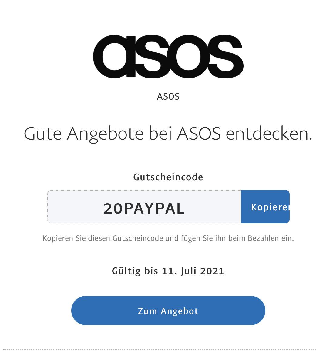 ASOS 20% Rabatt bei Zahlung per Paypal