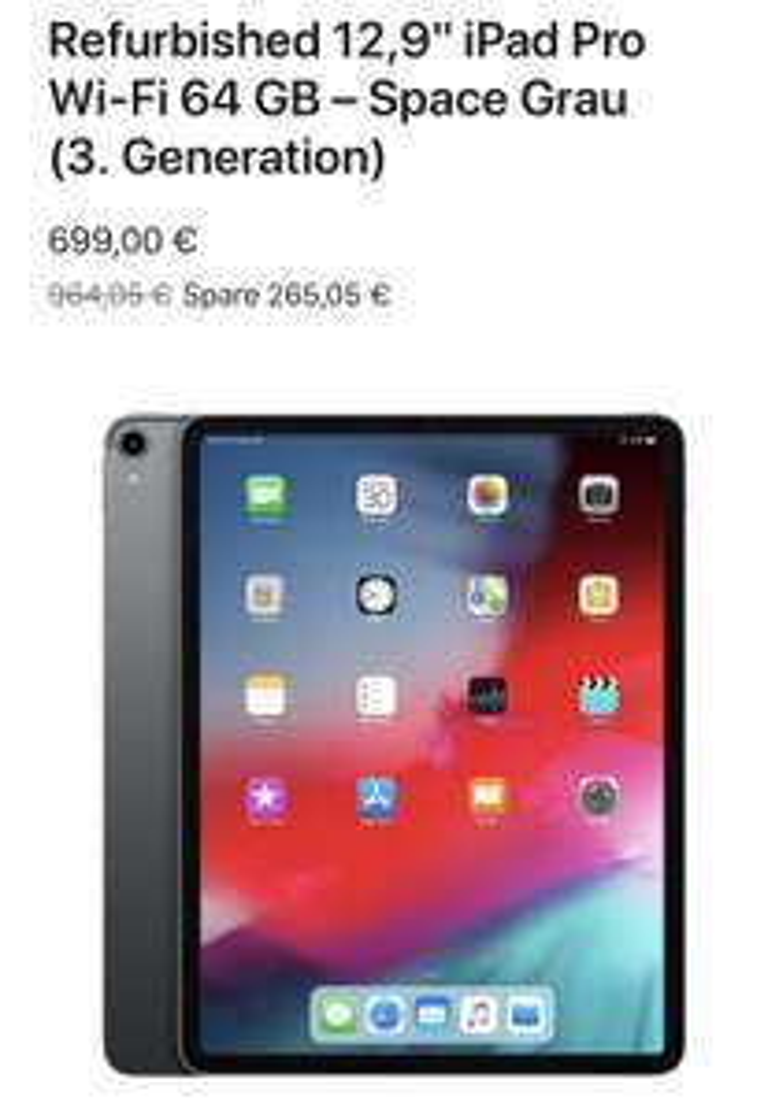 Apple zertifiziert refurbished iPad: iPad Pro 2018 12.9
