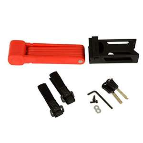 (prime) FISCHER Faltschloss inkl Halterung und 2 Sicherheitsschlüssel (rot / 85cm)