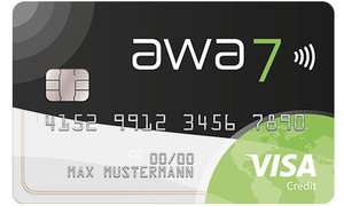 awa7 VISA Kreditkarte | 54€ Bonus (CHECK24) / 45€ (Shoop) + 20 Bäume | ohne Jahresgebühr · weltweit gebührenfrei bezahlen & Bargeld abheben